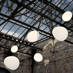 Anômala Cobblestone luminária Leite Vidro Candelabro Globe Pendant Lighting soltar luz para o restaurante Cafe Sala