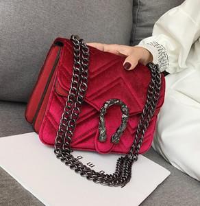Fábrica de la marca directa bolsa de invierno de las mujeres bolsa de terciopelo cerradura nueva línea de cabeza de serpiente bolso clásico bordado mujeres onduladas pequeña cadena temperamento elegante