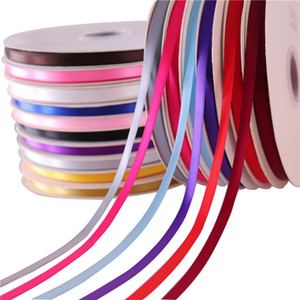 1cm x 100 Yards Satin-Bänder Double Face Solide Satin-Band-Rolle DIY-Kunstseide-Rosen Crafts Supplies Zu