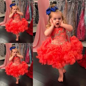 2019 Carino Abiti da cerimonia in organza rosso in ginocchio per bambina Abiti da cerimonia Glitze in rilievo Bella festa di compleanno Abiti da sposa in fiore