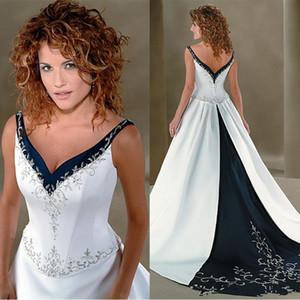 I più nuovi abiti di cerimonia nuziale Ricamo A Line Wedding Dresses V Neck WhiteNavy blu da sposa in raso lungo Sweep cinesi abiti in stile 2020