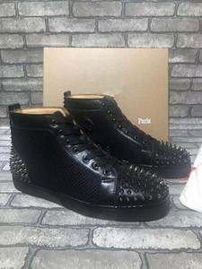 2019 Италия ручной работы бренда красный нижний кроссовки Orlato мужчины обувь Высокая верхняя часть тележки кожи черный Aclouflat Spikes квартиры тапки оптом