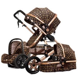 Deux voies léger pliage poussette bébé nouveau-né mode de luxe poussette 3 en 1 bébé élevé paysage transport