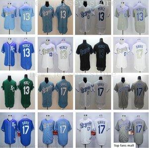 2019 Royals Mens Women Youth 13 Salvador Perez 17 Wade Davis Jerseys High Quality Kids white blue gray green Stitched baseball jerseys