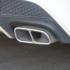 Aço inoxidável 2pcs Decoração Automobiles cauda garganta moldura para Mercedes Benz CLA C117 2013-16 tubo de escape modificado decalques