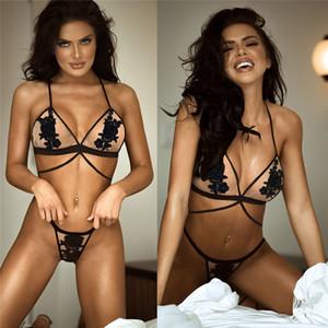 2020 atractivo de las señoras bordado de malla de dos piezas de ropa interior de bikini bordado perspectiva respirable atractivo de tres puntos de la correa de la ropa interior de las mujeres