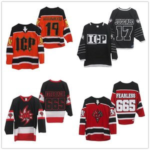 Personalizado Insane Clown Posse Hallowicked 19 Laranja Preto Hockey Branco Jerseys ICP 17 Juggalo Preto Hockey Branco costurado Logos personalizado