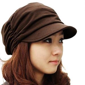 2019-coreano Sólidos Hat Mulheres Knited Outono Inverno Hat Newsboy Cap plissadas morna ao ar livre viseira Crânio Brown Cotton Casual Feminino