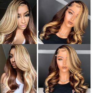 Ombre Браун Honey Blonde Highlight парик Цветные 13x6 фронта шнурка человеческих волос Парики Объемная волна Atina Полный 360 Lace Фронтальная парик Remy Hd