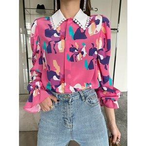 New Elegant Women Tops Blouse Long Sleeve Turn Down Collar Printing Blouse Female Fashion Slim Top Shirts