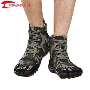 YISHENG alta-top Camuflagem de cinco dedos sapatos homens caminhando Cinco dedos anti-derrapante sapatos