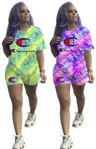 leggings hoodie das 12LM8064 Campeão Conjuntos femininos Jogo da camisa de treino duas peças calças esportivas definir sportswear de manga curta quente