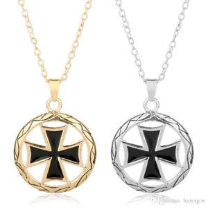Hip Hop Jewlelry Cavaliere cavo Croce Collana pendente in metallo Catena Hiphop Danza Girocollo Bling Franco Gioielli Collana da uomo