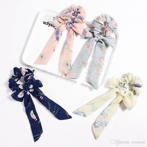 Ponytail Scarf Elastic Hair Rope Hair Bow Ties Scrunchies Hair Bands Flower Print Ribbon Hairbands FA3002