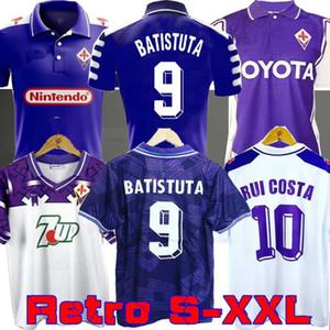 1998 1999 Retro Fiorentina Futebol 9 Batistuta 10 RUI COSTA Personalizado Vintage 98 99 Início Football Shirt 2000 Camisas de Futebol 92 93