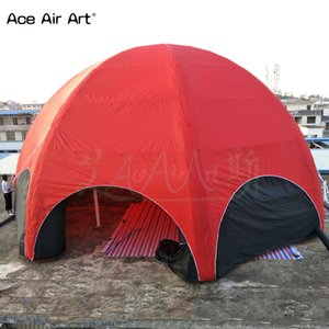 Full red cover 12 m giant marquee balloon inflatable spider dome,8 legs awsome party shelter,garage advertising and tailgating house for US