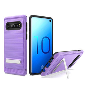 For Samsung A20 A30 A50 A10E Note 10 Pro 9 S10 5G E Plus J2 Core J7 J3 2018 Dual Layer Brushed Metal Texture TPU PC Magnetic Kickstand Case
