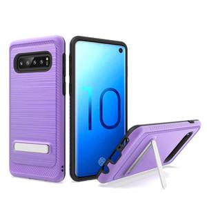 For Samsung A20 A30 A50 A10E Note 10 Pro 9 S10 5G E Plus J2 Core J7 J3 2018 Dual Layer Brushed Metal Texture TPU PC Magnetic Kickstand Case