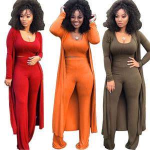 New Women Knitted 3 Piece Set Spaghetti Strap Crop Top High Waist Pant Long Sleeve Cardigan Overcoat Knitwear Streetwear