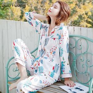 BabYoung verano pijama de satén de seda pijamas de las mujeres Pijamas Mujer Establece la hoja Imprimir Femme manga larga ropa de dormir Mujer Homewear rosa