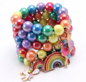 INS 12 styles enfants Bijoux Bracelet perles colorées sirène Charms Flamingo bracelet mignon conception bracelet princesse pour fille cadeau bijoux