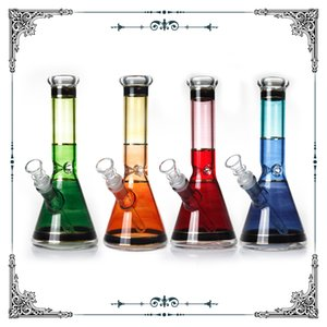 10 Inches Glass beaker bong gold Line bongs glass smoking tobacco pipe heady hookah colorful water pipes free shipping