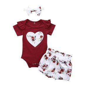 Emmababy новорожденного ребенка девушка одежда цветок принт сердце персика короткий рукав комбинезон топы короткие брюки повязка на голову 3 шт. наряды в загородном стиле