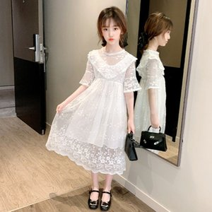 2020 Summer Kids Dresses For Girls Mesh Casual Lace Embroidery Princess Baby Girl Clothes Children Sleeveless Dress Clothes W247