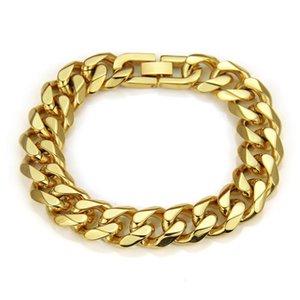 2020 Fashion Design Men Cuban Chain Bracelets Hip Hop Gold Color Jewelry Punk Filling Pieces Men Cuban Bracelets For Men 22cm Long