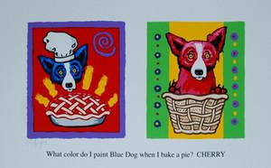 George Rodrigue Mavi Köpek Color Me Kiraz Ev Dekorasyonu Handpainted HD Yağ On Tuval Wall Art Canvas Resimler 200.112 Boyama yazdır