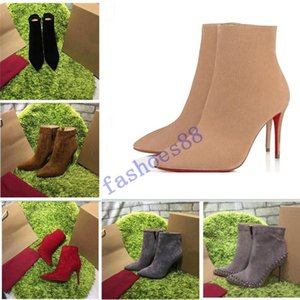 2019 [Original Box] New Sexy Womens High Heels 100mm Boot Red Bottom Ankle Winter Real Leather Pumps Paris Boots Size 35-42