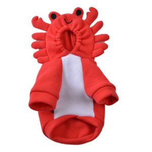 Pet Velvet Hoodie Dog Red Crab Cosplay Costume 2 Legged Funny Clothes Dog Cold Weather Outfits