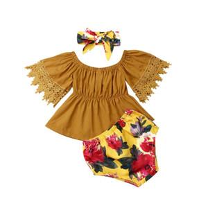 Emmababy العلامة التجارية الوليد طفلة طفل الرضيع وتتسابق مل 3pcs مجموعة ملابس معطلة الكتف القمم الصلبة Floarl بانت قصيرة العصابة 0-5T