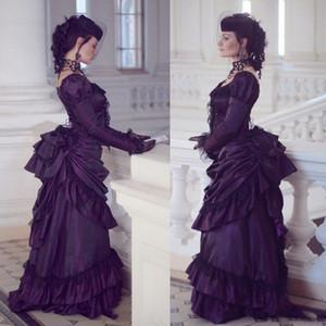 Gothique victorien pourpre robes de mariée Rétro Maison Royale duchesse boule Robes de mariée manches longues en dentelle à volants Renaissance Robe Aristocracy
