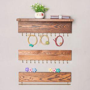 2 colori 3pcs / set di legno fissato al muro dell'organizzatore del supporto dell'esposizione dei monili gancio per orecchini Collana Anello Sciarpa Appendini Gioielli Rack M1357