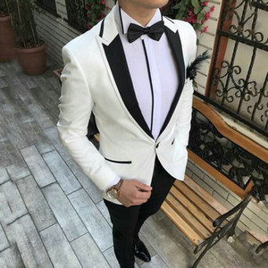 2021 New Arrival White Suits for Mens Wedding Groom Tuxedo Trajes De Hombre Man Blazer Costume Homme Terno Masculino 2 Piece