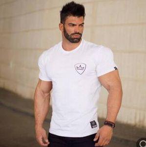 summer hot 2019 New men Gym Solid short Sleeve t Shirt Men Fitness round-neck cotton T Shirts Running Breathable Sportswear