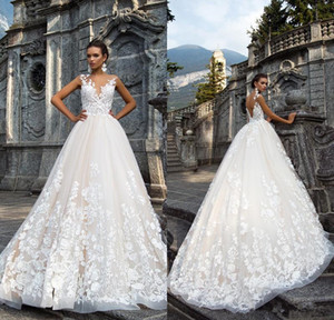 Vintage Princess Milla Nova A Line Wedding Dresses 2020 Full Lace Tulle Applique Turkey Country Western Open Back Wedding Bridal Gowns