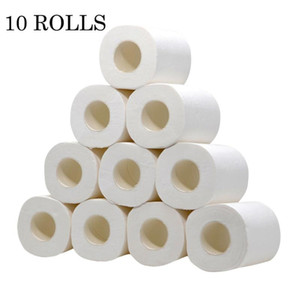 10 Roll Toilet Paper Of 4ply 2020 Rolling Paper Toilet White Tissue Rolls Pack For Kitchen Bathroom Papel Higienico