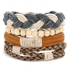 genuine leather bracelet Weaving whip wood beads Hemp rope adjustable bracelet Men's Combination suit Bracelet 4styles 1set