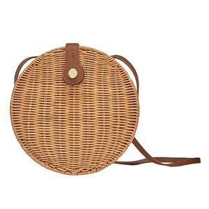 NEW-Round Rattan Bags For Women - Handmade Straw Summer Beach Crossbody Circle Boho Woven Bag