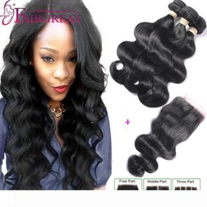 Brazilian Body Wave Hair Products With Closure Unprocessed Brazilian Human Hair Bundles 3Bundles Brazilian Virgin Hair Wefts With Closure