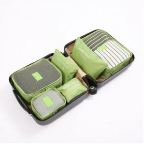 6PCS / Set de alta qualidade Oxford Cloth viagem Mesh Bag In Bag bagagem Organizer Embalagem Cube Organizador para vestuário (varejo)
