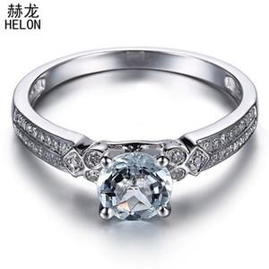 HELON Fest 10K Weißgold Flawless 6mm runde echte natürliche Aquamarin Diamant-Verpflichtungs-Hochzeit Frauen edlen Schmuck Ring