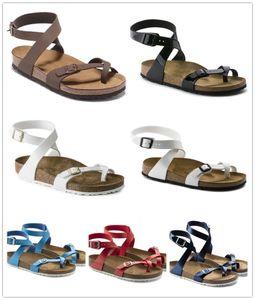 Nuevo colorido talón famosa marca de Arizona sandalias planas de las mujeres ocasionales Zapatos Cómodos doble hebilla de Verano de calidad superior zapatillas de cuero genuino