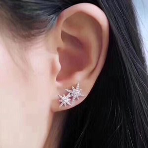 Yeni elmas dolu 925 lüks gümüş takı tasarımcısı küpe moda sevgilisinin hediye çift yıldızlar damızlık küpe womens