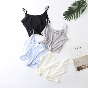 Women Ice Silk Halter Top Summer Casual Ultra Short Thin Camisole Lace Floal Adjustable Strap Bra Bralette Ladies Tank Top