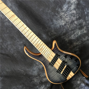 electric guitar bass neck thru body ,gray flame grain.black parts,6 string maple neck and fingerboard,wikinson pickup,free shippinng!