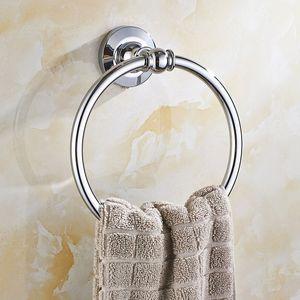 Avrupa Cilalı Krom Havlu Askısı Bakır Yuvarlak Taban Havlu Halka Banyo Havlu Bar Montaj Banyo Aksesuarları
