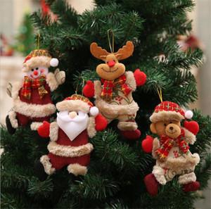 Lindo árbol de navidad decoración colgante santa claus oso muñeco de nieve elk muñeca adornos colgantes decoración de navidad para el hogar